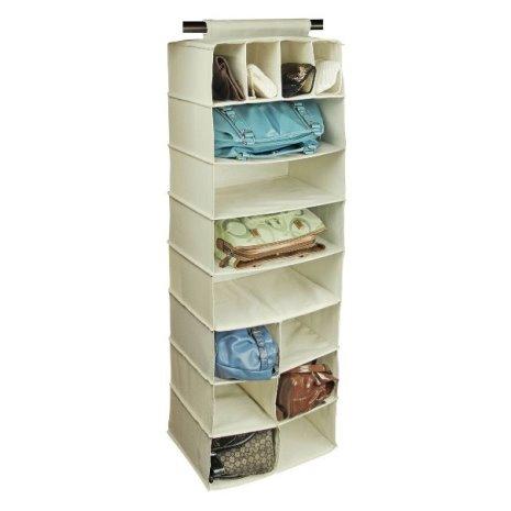 Фото подвесной мягкой полки из ткани для хранения вещей в гардеробной